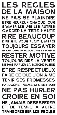 Affiche adhésive - Sticker géant - Poster autocollant Home Rules - manifeste de la Famille: Quote Citation, House Rules, The Words, Learn French, Positive Attitude, Motivation, Decir No, Quotations, Affirmations