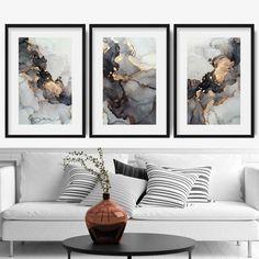 Black And White Painting, White Art, Black Art, Black Framed Art, Wall Art Sets, Wall Art Prints, Framed Prints, Black And Gold Living Room, Grey And Gold Bedroom