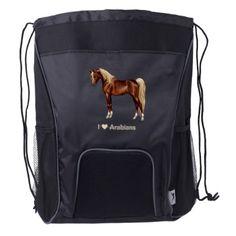 Bay Egyptian Arabian Horse Drawstring Backpack  $27.45  by ForestWildlifeArt  - custom gift idea