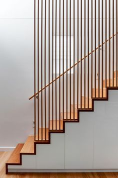 Staircase in natural polished timber