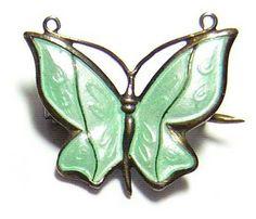 Vintage Andresen & Scheinpflug ~ Norway ~ Enamel on Sterling Butterfly Pin