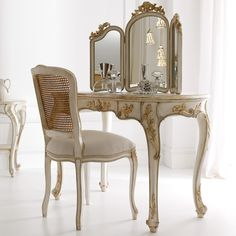 Italian Designer Rococo Dressing Table Set at Juliettes Interiors, a large collection of Classical Furniture. Dressing Table With Chair, Vintage Dressing Tables, Dressing Table Design, Dressing Table Mirror, Rococo Furniture, Unique Furniture, Contemporary Furniture, Luxury Furniture, Furniture Design