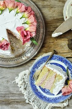 White Layer Cake with Strawberry Buttercream