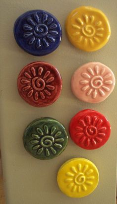 7 NEW SUN Tile MAGNETS  Ceramic Mosaic Tile Magnets by TinkerTiles, $20.15