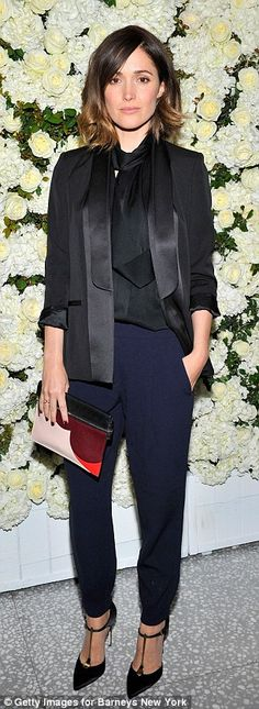 Stylistas: Rose Byrne opted for androgynous chic while Rachel Zoe teamed a eyelet dress wi...