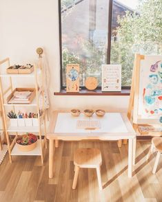"The post ""Craft station set up this week appeared first on Pink Unicorn Playroom Montessori Toddler Rooms, Toddler Playroom, Small Kids Playrooms, Waldorf Playroom, Ikea Kids Playroom, Trofast Ikea, Craft Station, Home Daycare, Playroom Design"