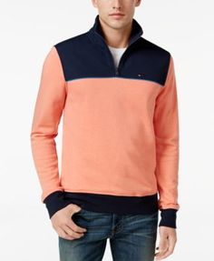 TOMMY HILFIGER Tommy Hilfiger Men'S Two-Tone Quarter-Zip Terry Sweatshirt. #tommyhilfiger #cloth # sweaters