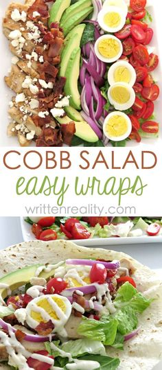 Cobb Salad Wrap Recipe : Here's the best cobb salad recipe that's wrapped in a warmed flour tortilla for an easy meal idea you'll love. Easy and Delicious Cobb Salad Wrap Recipe - Written Reality Ale Alvarez lali_mimu Healthy Food Cobb Salad Wrap R Cobb Salad, Clean Eating Snacks, Healthy Eating, Paninis, Good Healthy Recipes, Healthy Foods, Easy Recipes, Rice Recipes, Healthy Supper Ideas