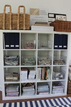 ikea expedit shelving unit with wire locker baskets from Space Savers for craft/sewing room Kallax, Ikea Expedit, Office Supply Storage, Laundry Room Organization, Office Organization, Filing Storage, Organized Office, Vintage Lockers, Home Office Space