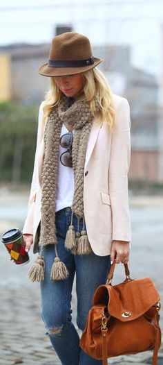 peach blazer and scarf