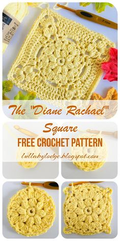 """The """"Diane Rachael"""" granny square, a tutorial by Lullaby Lodge. The """"Diane Rachael"""" granny square, a tutorial by Lullaby Lodge… : Crochet this beautiful gra Bag Crochet, Crochet Daisy, Manta Crochet, Free Crochet, Crochet Top, Crocheted Bags, Free Knitting, Crochet Blocks, Granny Square Crochet Pattern"""