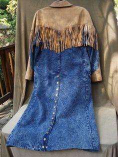western denim jackets | Lady's Vintage 70s Western Blue Denim Duster Coat Jacket Buckskin Tan ...