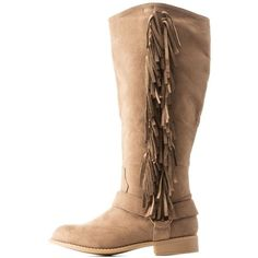 Charlotte Russe Fringed Western Boots ($15) ❤ liked on Polyvore featuring shoes, boots, taupe, western boots, fringe cowboy boots, round toe cowgirl boots, faux-suede boots and cowboy boots