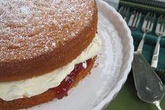 Nothing says celebration like a sponge cake with jam and cream. Australian Food, Australian Recipes, Delish Cakes, Sponge Cake Recipes, Afternoon Tea, Cooking Recipes, Vegetarian Recipes, Delicious Desserts, Sweet Tooth