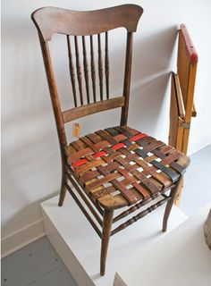 DIY Renovated Chairs-Use old belts, a white chair with colored belts, many different ideas!