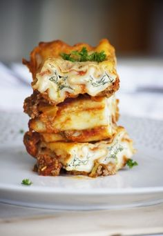 Lazy Ricotta and Spinach Cannelloni with Mince Sauce