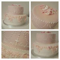 Taufe #torte#kreuz #mädchen#rosa#blumen                                                                                                                                                     Mehr