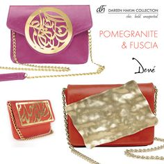 Dareen Hakim Artist Purses, made of premium leather and metals. Find out more at Dené Gallery, or shop our artist purses by Dareen Hakim at http://www.geneva-illinois-jeweler.com/#!handbags/c11g4 10% off anything Pomegranate or Fuscia