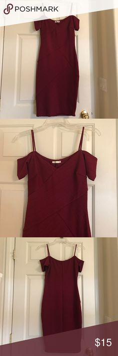 Deep Red Off The Shoulder Dress Beautiful deep red off the shoulder dress in a juniors medium. Form fitting with stretchy material so no zipper. Worn once. Very flattering Dresses Midi