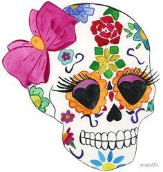 Mexican Skulls, Mexican Art, Sugar Skull Painting, Sugar Skull Stencil, Sugar Skull Artwork, Halloween Party Decor, Halloween Crafts, Candy Skulls, Sugar Skulls