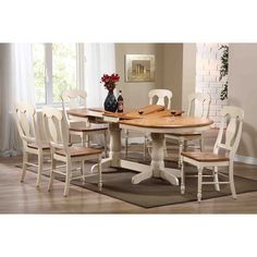 Oval Dining Table and Six Chairs. Pedestal detail. @anniesloanhome ...