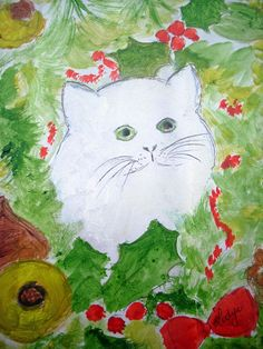 TABLEAU LE CHAT BLANC/WHITE CAT PAINTING /COTATION DROUOT