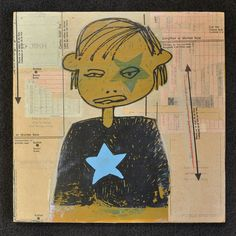 """""""Star Girl""""  12"""" x 12"""" mixed media on wood.  For sale in the Bend Press Store:  www.bendpress.com"""
