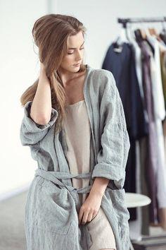 Bath robe - natural grey linen bathrobe 654120802
