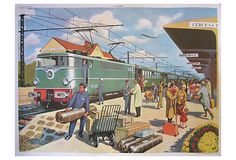 "French Train Station Poster -22""L x 30""W -"