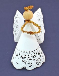Easy Angel Crafts Doily Paper Angel finished angel