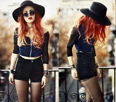 Indigo & Black. (by Lua P) http://lookbook.nu/look/4336511-Indigo-Black