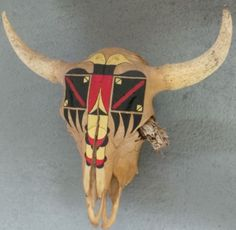 NATIVE HAND PAINTED BUFFALO SKULL Bull Skulls, Deer Skulls, Animal Skulls, Painted Cow Skulls, Painted Antlers, Hand Painted, Native American Regalia, Native American Art, Cow Skull Art