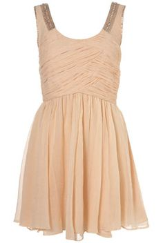 Nude Beaded Ruched Front Panel #nude #dress