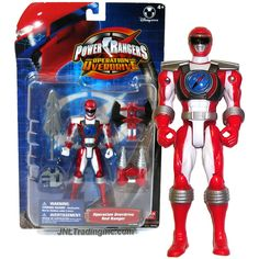 Bandai Year 2006 Power Rangers Operation Overdrive Series 5-1/2 Inch Tall Action Figure - RED RANGER with Twin Drill, Battle Axe and Sword