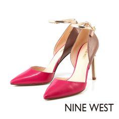NINE WEST 點亮秋冬搶眼配色 雙色組搭繫帶高跟鞋-璀璨桃紅 - Yahoo!奇摩購物中心