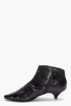 Leather kitten heel ankle boots | Black