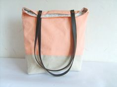 Peach tote, salmon pink bag, leather straps, colorblock tote bag, coral pink purse, canvas tote, Etsy