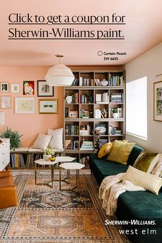 This is as true for home improvement as any other subject. Peach Living Rooms, Living Room Colors, Living Room Paint, Living Room Decor, Peach Paint Colors, Bold Colors, West Elm, Home Interior, Interior Design