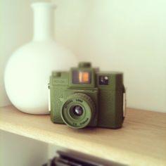 Green Holga camera & white case by M Conran collection