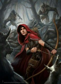 A Arqueira Vermelha. Caçadora de Lobos. Floresta dos Homens-Fera. Bosque dos Lobos. - Arte por Murphy