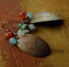Paisley Leaf Earrings Copper, Carnelian, Chalcedony Handmade OOAK | ChrysalisJewelry - Jewelry on ArtFire