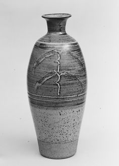 Bottle Bernard Leach  (British (born China), Hong Kong 1887–1979 Saint Ives, Cornwall) Date: ca. 1958 Medium: Stoneware with incised design,...