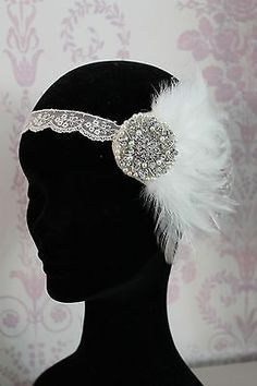 1920s Flapper Headband Style Feather Fascinator Fancy Dress Great Gatsby