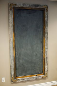 I could pop out the mirror I don't want, paint and distress the frame and add a chalkboard painted piece of masonite. Large Frames, Old Frames, Diy Pallet Projects, Wood Projects, School Auction Projects, Idee Diy, Chalkboard Art, New Living Room, Dream Rooms