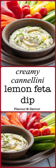 Pin this Creamy Cannellini Lemon Feta Dip recipe for your next get-together or holiday party. It's similar to hummus, but made without chickpeas! Blend white beans (cannellini beans) feta, and lemon together to make this popular healthy dip for veggies, p