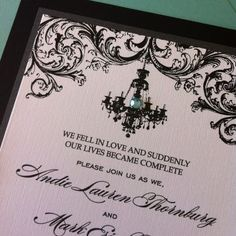 Damask Chandelier and Tiffany Wedding Invitation - The Event Essentials with Meant2Be Events. The Boulders Resort.