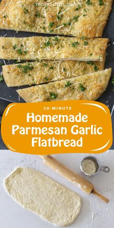 Homemade parmesan garlic flatbread is easy to prep at home and only takes 30 minutes. This flatbread can be made into flatbread pizzas or served with soups. This flatbread will become your favorite homemade recipe, it's easy to follow and it is super versatile. #homemadeflatbread #parmesangarlicflatbread #homemadebreadrecipes #easybreadrecipes #homemadebread #flatbread