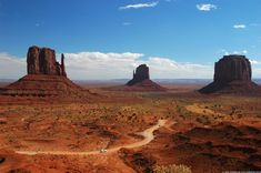 Monument Valley, Arizona  Check out the car on the road to get a perspective of how large the buttes are!!