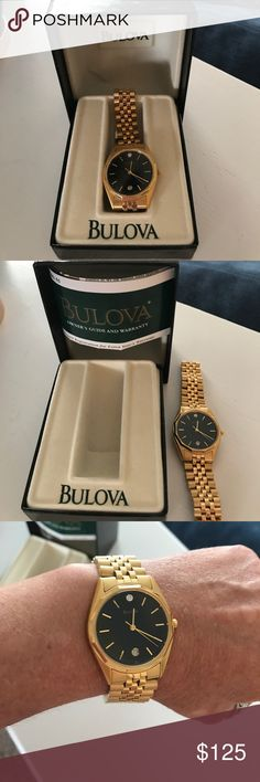 Bulova Watch Mens Brand new men's bulova Watch. Gold watch with small diamond at the 12 position. Bulova Accessories Jewelry
