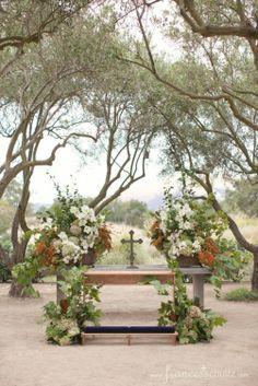 Wedding - Altar at Rancho La Zaca. Flowers by Mindy Rice.
